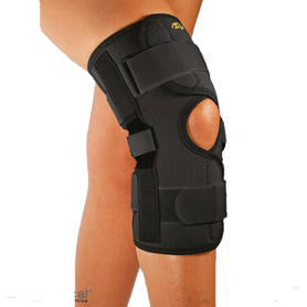 Neoprenowa orteza stawu kolanowego z regulacją kąta zgięcia – zapinana