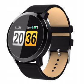 Ciśnieniomierz Smartwatch Czarny skórzany pasek